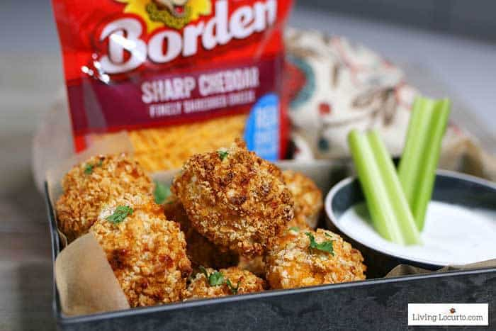 Air Fryer Buffalo Chicken Cheese Balls are a simple game day recipe made with Buffalo chicken, cheddar cheese and blue cheese dipping sauce. #recipe #airfryer