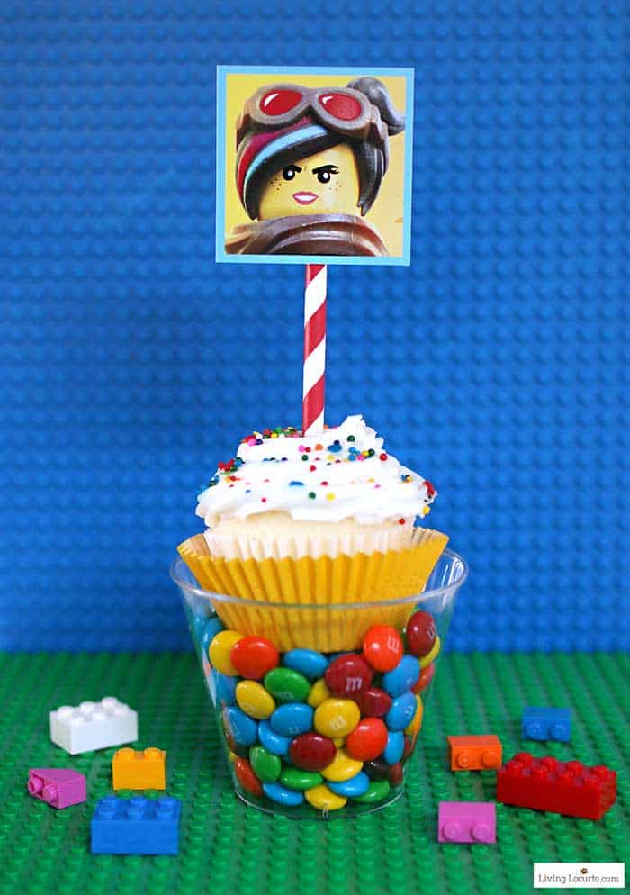 LEGO Cupcakes with free printables from The LEGO Movie. Girl Lego Party ideas and dessert for a LEGO birthday party.