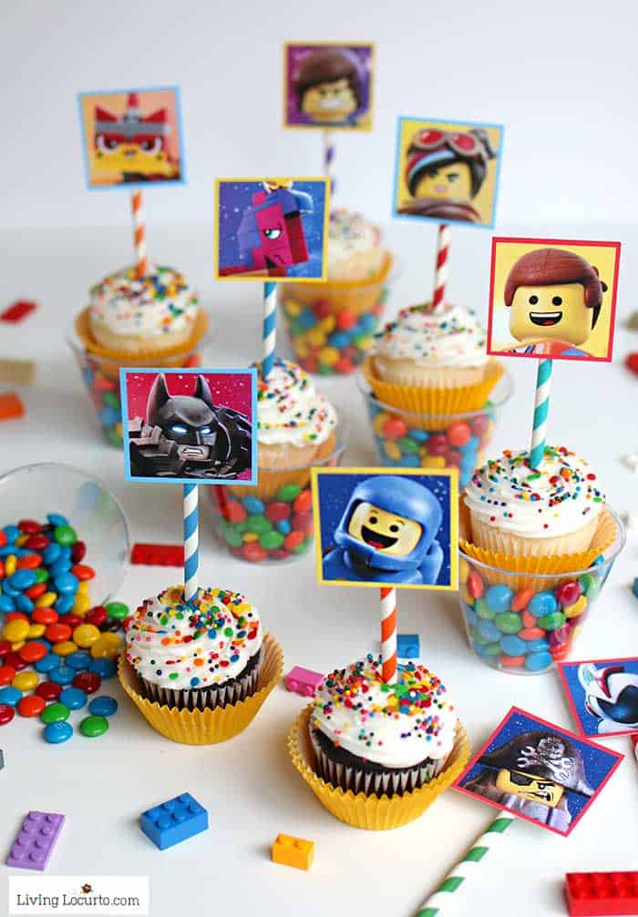 LEGO Cupcakes with free printables from The LEGO Movie 2. A fun dessert idea for a LEGO birthday party. Colorful candy cups make an extra awesome treat!