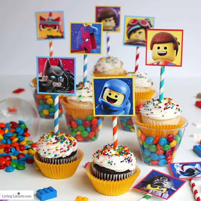 LEGO Cupcakes with free printables from The LEGO Movie 2. A fun dessert idea for a LEGO birthday party. Colorful candy cups make an extra awesome treat! Living Locurto