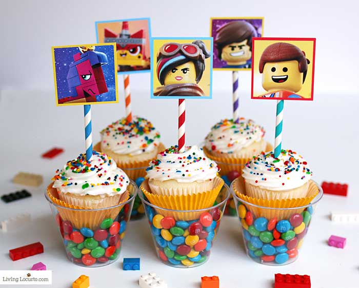 LEGO Cupcakes with free printables from The LEGO Movie 2. A fun dessert idea for a LEGO birthday party.