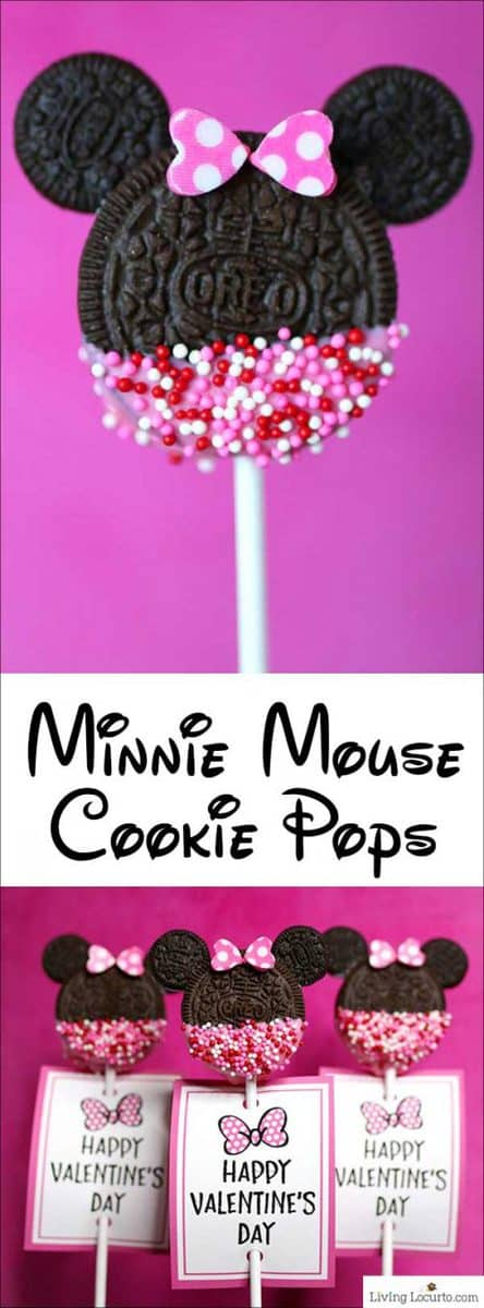 Minnie mouse cookie pops. Easy valentine cookie recipe and printables by Living Locurto