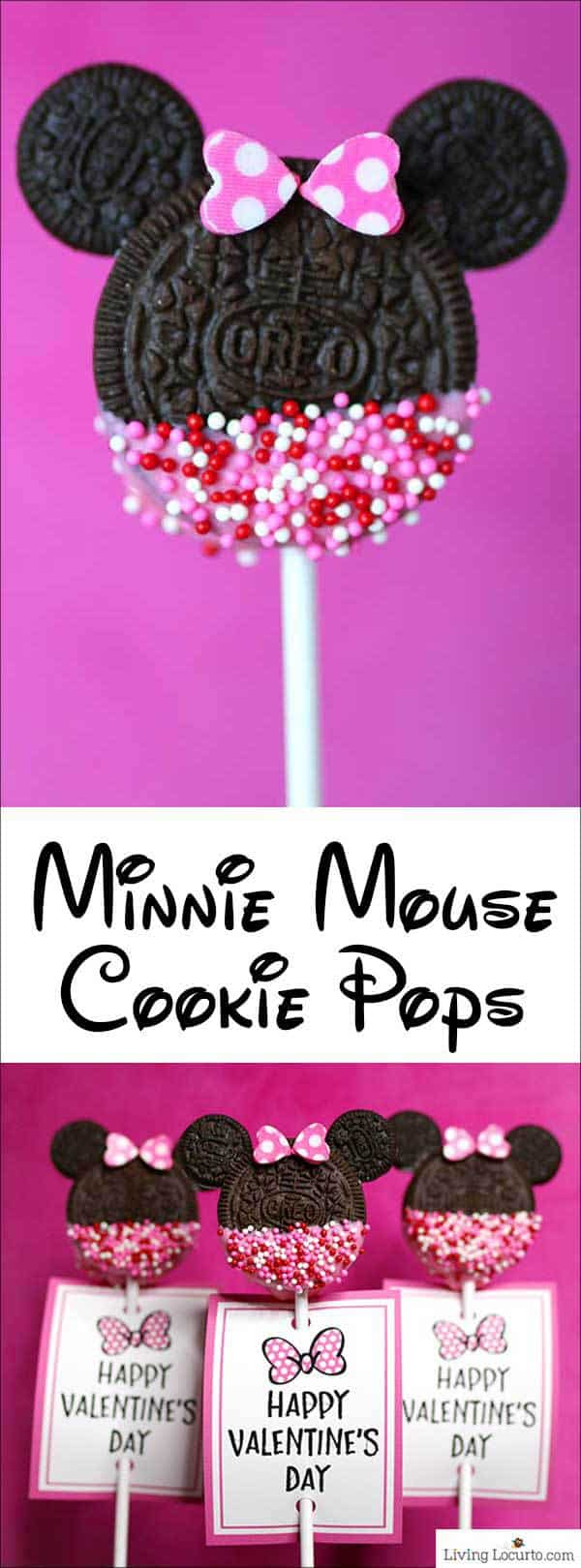 Minnie Mouse Cookie Pops are an easy Disney party dessert made with OREO cookies and free printable Valentine's Day tags. Cute Valentine cookie recipe. #disney #cookies