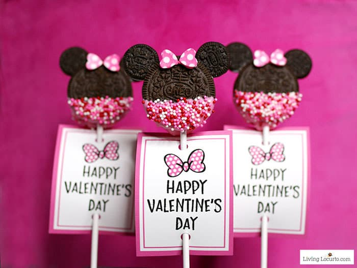Valentine Minnie Mouse Cookie Pops are an easy Disney party dessert made with OREO cookies and free printable Valentine's Day tags.  LivingLocurto.com