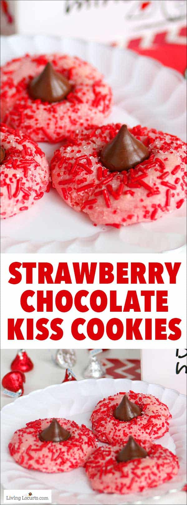 Easy Strawberry Chocolate Kiss Cookies recipe! Strawberry cake mix thumbprint cookies rolled in red candy sprinkles and with a Hershey's Chocolate Kiss. Cute for Valentine's Day. #cookies #recipe #chocolate
