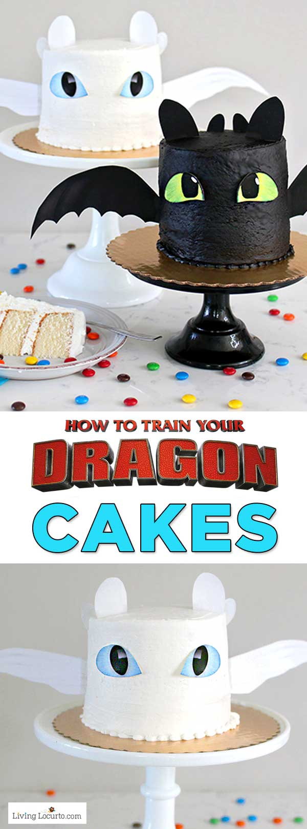 Easy How To Train Your Dragon Cake Tutorial! Fluffy white cake recipe for a Night Fury or Light Fury dragon cake. A perfect birthday party cake! LivingLocurto.com #cake #dragon #recipe