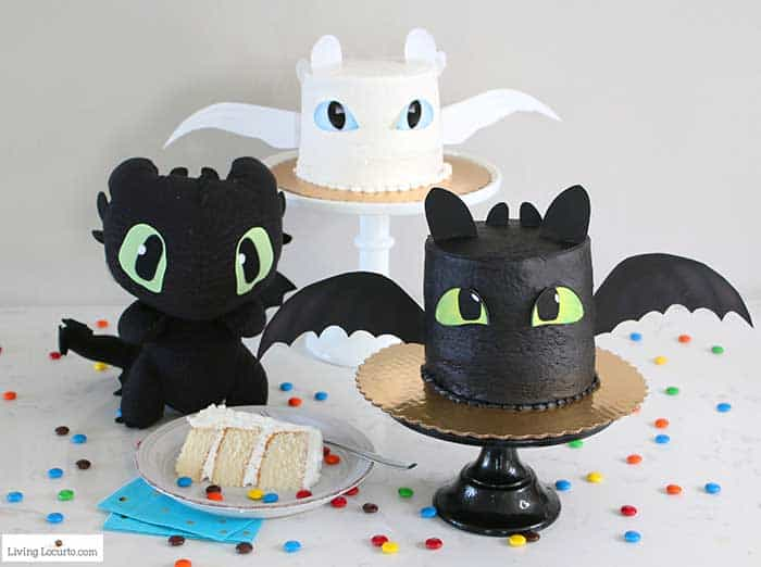 How To Train Your Dragon Cake Tutorial! Fluffy white cake recipe for a Light Fury and Night Fury Toothless dragon birthday cake. LivingLocurto.com