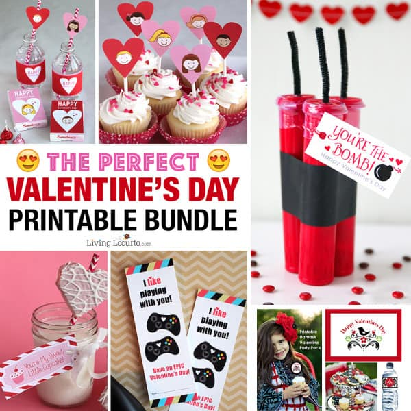 Valentine printable packs for last-minute gift giving. This Valentine's Day Printable Bundle is full of our MOST POPULAR Valentines for kids, teachers and anyone you love! Livinglocurto.com