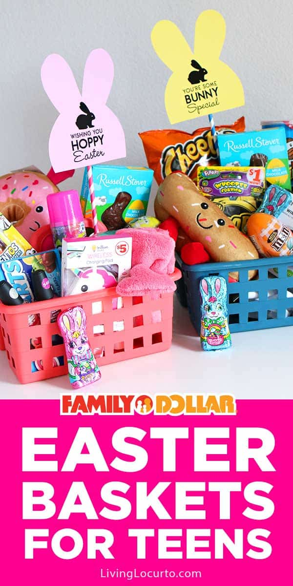 Easy Easter Basket Ideas for Teens. $25 or less with items from Family Dollar and free printable bunny tags.