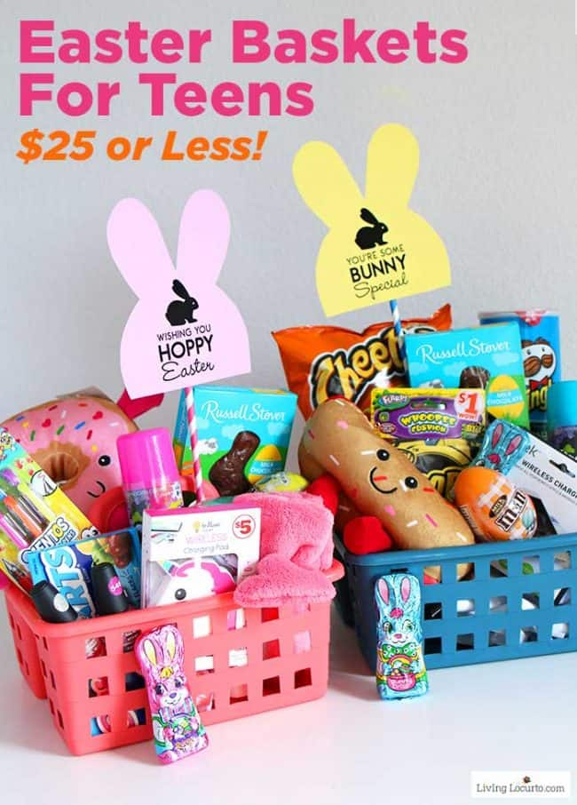 Easy Family Dollar DIY Easter Basket Ideas for Teens. $25 or less with items from Family Dollar and free printable bunny tags.