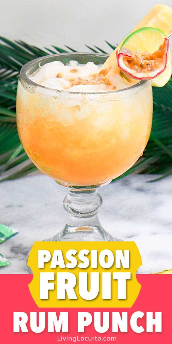 Passion Fruit Tropical Rum Punch cocktail recipe. Make a pitcher of this easy tropical rum drink for your next party. Fun Luau party ideas.