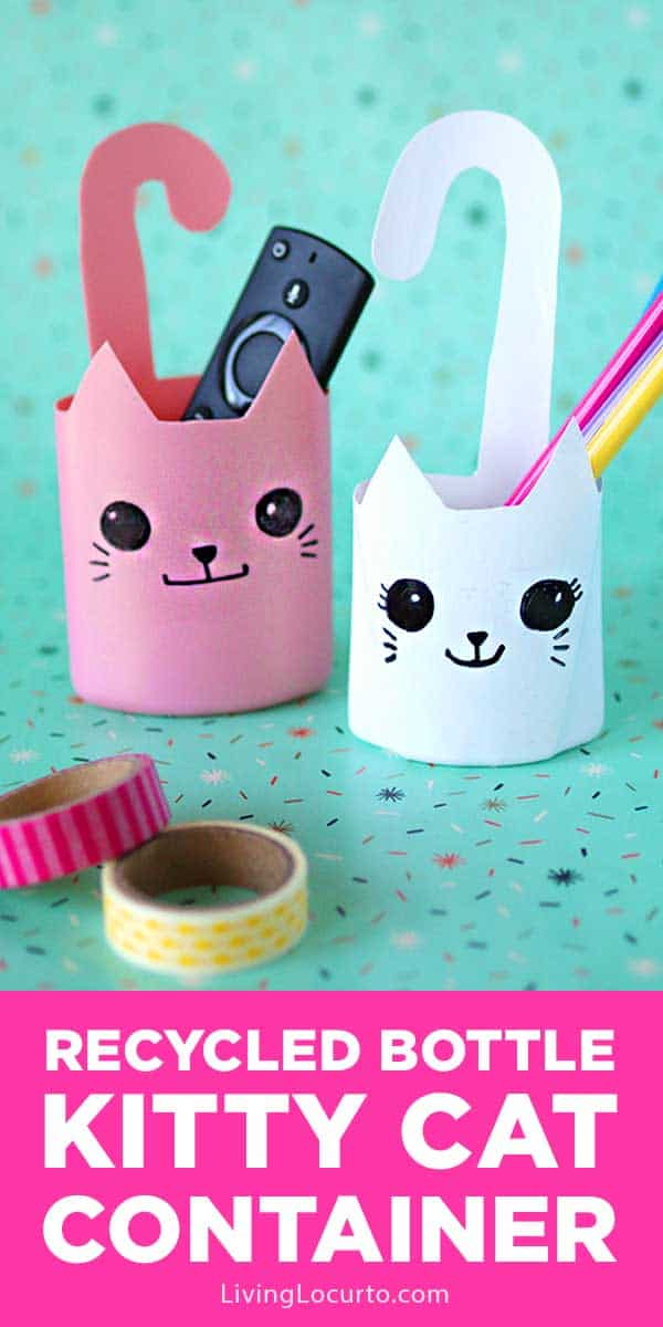 Recycled bottle cat containers are a fun and simple craft! Easy repurposed shampoo bottles turned into cute kitty cat containers. #craft #cat