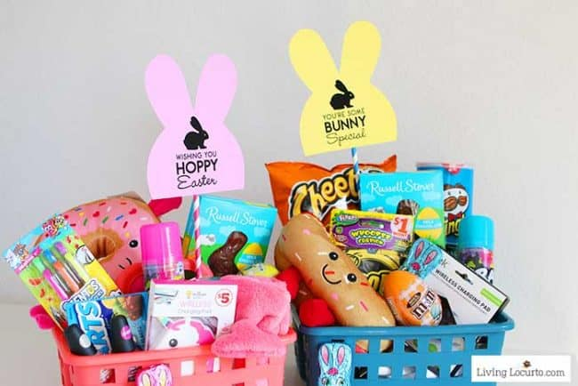 Easter Basket Ideas for Teens. $25 or less with items from Family Dollar and free printable bunny tags.