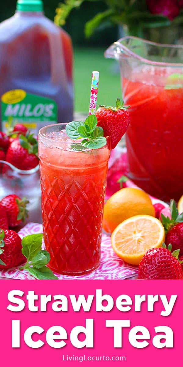 A Strawberry Iced Tea recipe made by the pitcher with fresh strawberries, mint, lemons and is the perfect summer party drink! Easy spiked tea cocktail.
