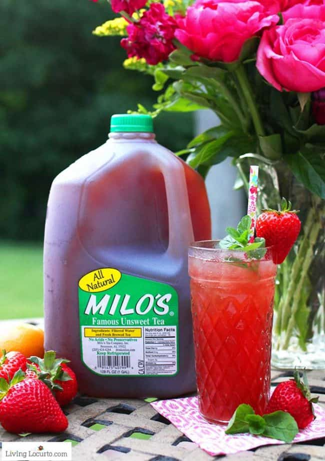 Strawberry Iced Tea recipe is an easy cocktail with Milos Unsweet Tea.