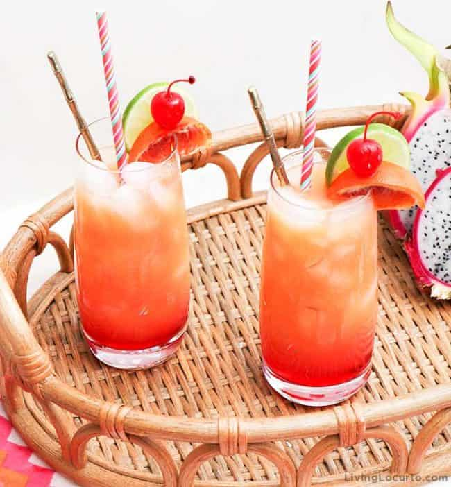 Zombie Cocktail Drink. Easy Tropical Rum punch Tiki Recipe.
