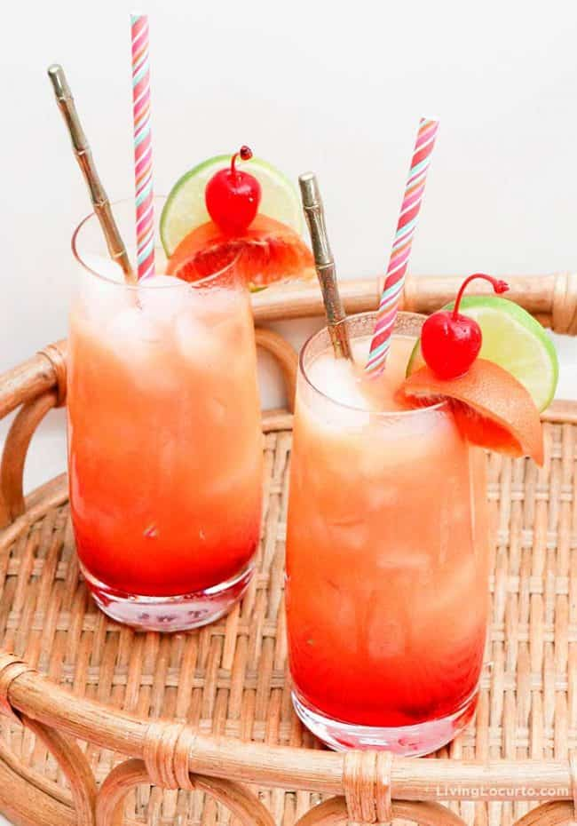 Zombie Cocktail Recipe. Easy Tiki Drink for a luau or summer party. LivingLocurto.com