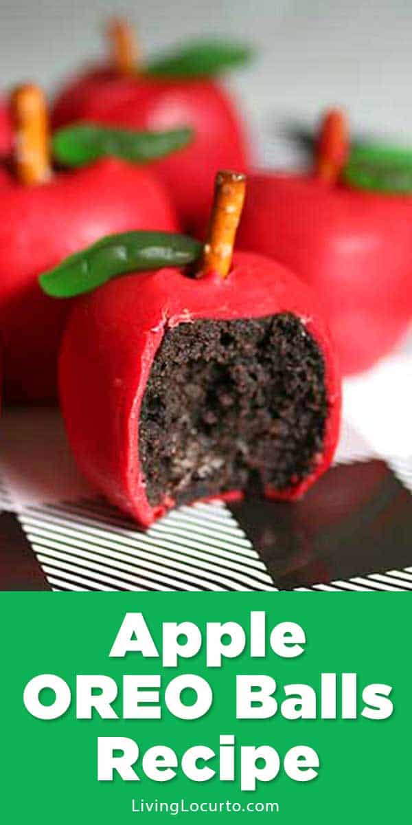 Easy Apple OREO Balls to kick off back to school season. Fun food craft recipe fw adorable teacher gift or back to school party.