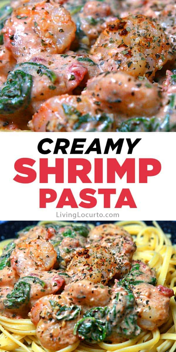 Creamy shrimp pasta is an easy recipe with garlic butter and spinach sauce. Spices, tomatoes and cream cheese makes this rich dish irresistible!