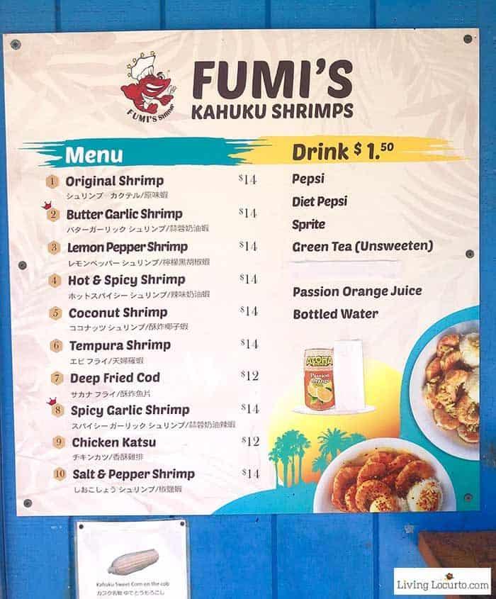 Fumis Kahuku Shrimps Menu - 2 Day Oahu Itinerary - Honolulu Hawaii Travel Tips - Living Locurto