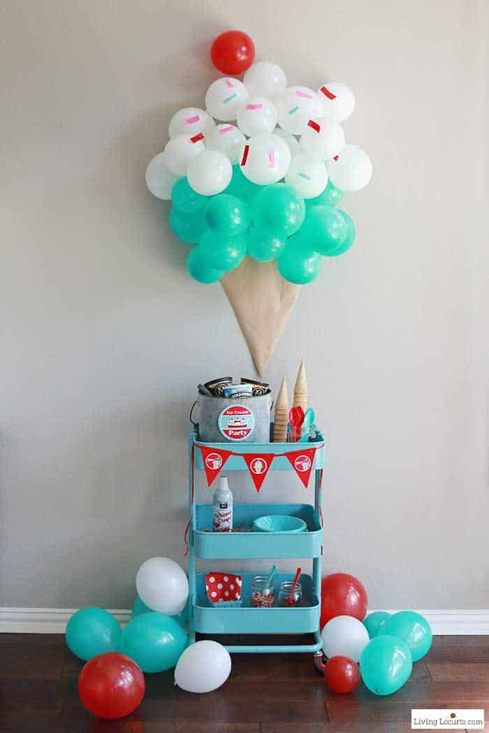Easy Ice Cream Social Party Ideas. Learn how to make an ice cream cone balloon backdrop, decorate a food cart with printables and more fun party ideas! LivingLocurto.com
