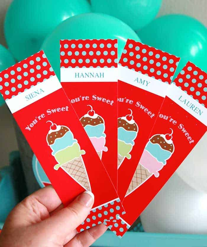 Ice Cream Social Party Ideas and Printable Bookmarks with Ice Cream Cone Balloon Backdrop