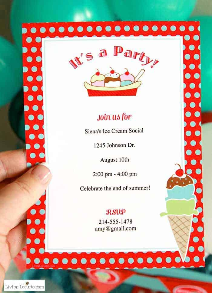 Ice Cream Social Party Ideas and Printable Custom Invitations