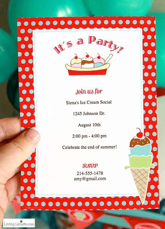 Ice Cream Social Party Ideas and Printable Custom Invitations