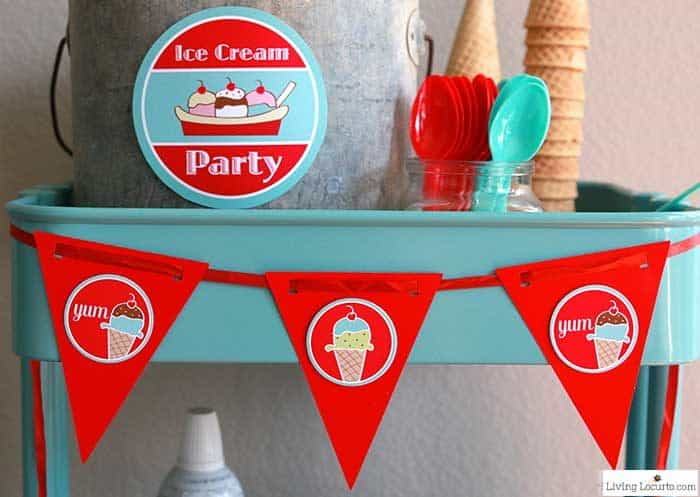 Ice Cream Social Party Ideas and Printable Decorations with Ice Cream Cone Balloon Backdrop
