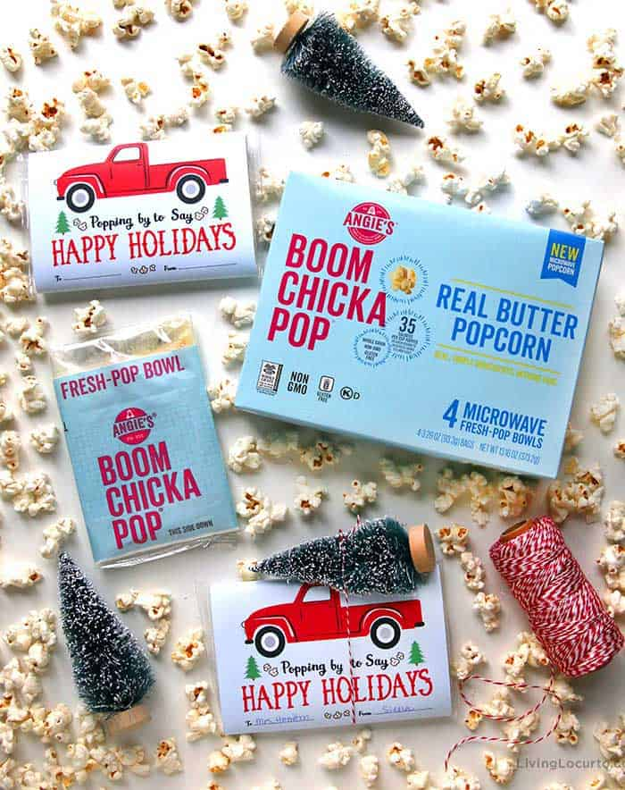 Easy Popcorn Holiday Gift with Red Vintage Truck Printable Craft.