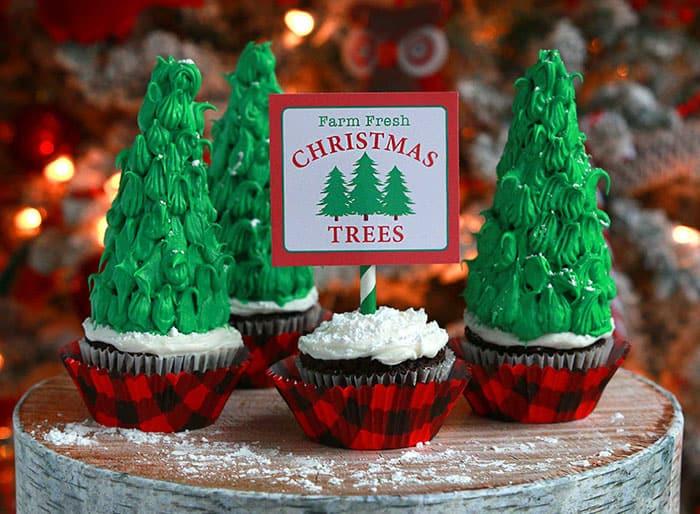 Cute Christmas Tree Cupcakes Recipe