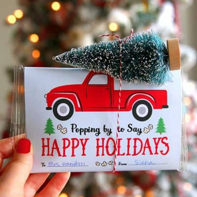 Easy Popcorn Christmas Gift with Red Vintage Truck Printable Craft.