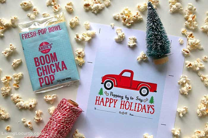 Popcorn Christmas Gift with Red Vintage Truck Printable Craft.