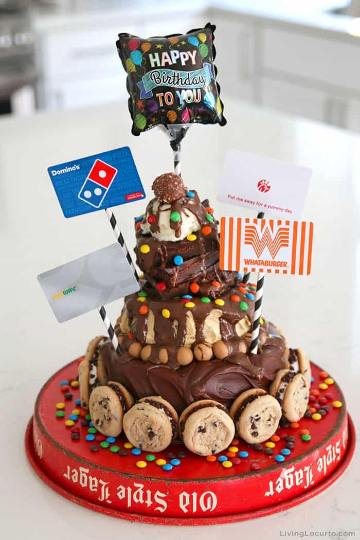 Hot Fudge Sundae Cake Recipe - Gift Card Chocolate Birthday Cake for a Teenager