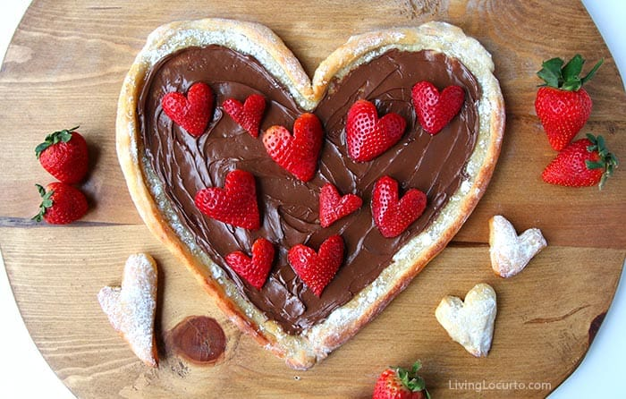 Easy Fruit Pizza with Nutella and Strawberry Hearts Recipe by Living Locurto