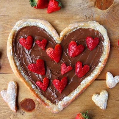 Fruit Pizza with Nutella and Strawberry Hearts