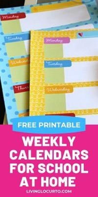 Free Printable Weekly Calendars for Kids