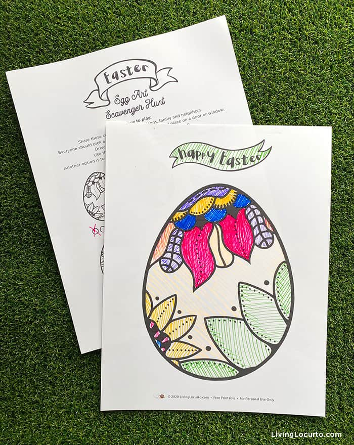 Easter Egg Art Scavenger Hunt - Free Printable Easter Game