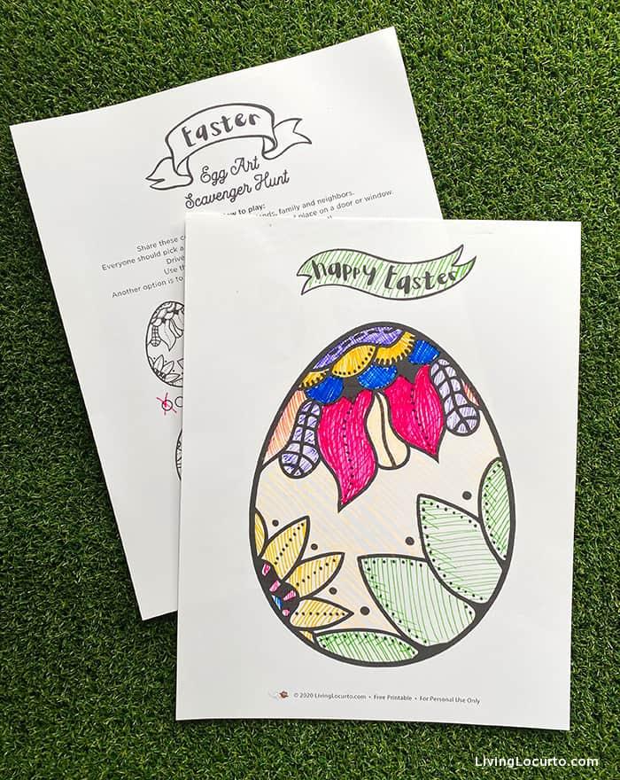 Easter Egg Art Scavenger Hunt - Free Printable Easter Game