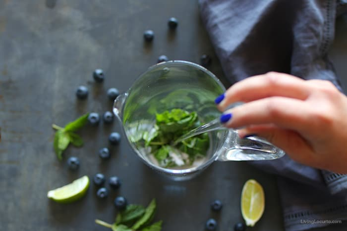 Blueberry Mojito Pitcher Recipe - How to muddle mint