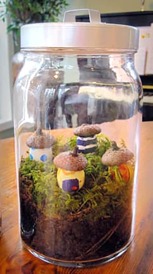 Mini Acorn House Terrarium Mason Jar Craft - 50 Mason Jar crafts and recipes