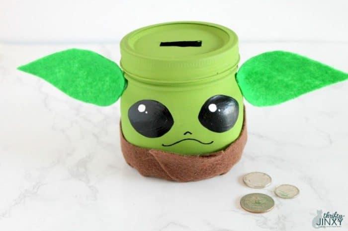Baby Yoda Mason Jar Bank Kids Craft