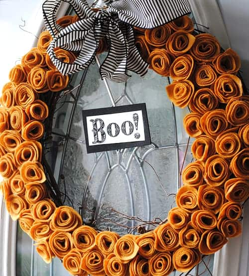 Halloween Wreath made with Felt Flowers