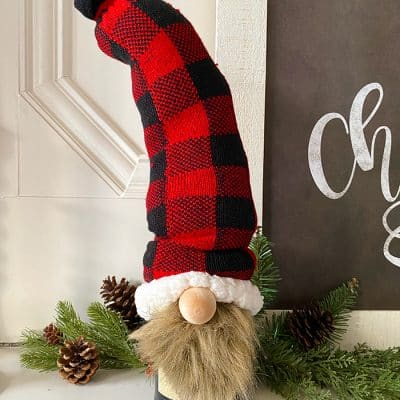 Gnome Wine Bottle with Fuzzy Socks DIY Gift