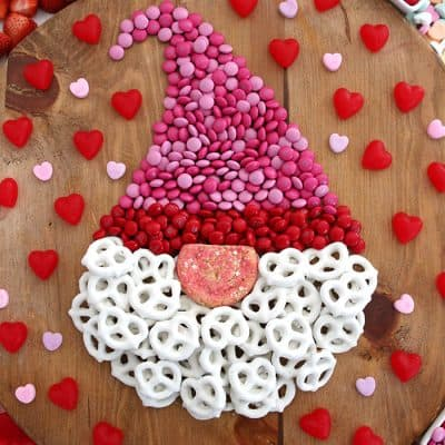 Valentine Gnome Dessert Board - Chocolate candy charcuterie shaped like a gnome