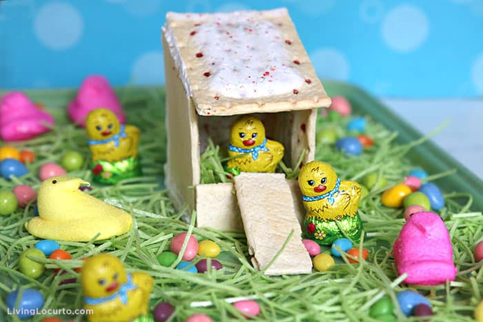 Pop Tarts Chicken Coop Dessert Board with Easter candy