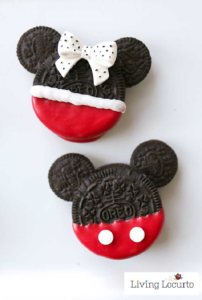 Oreo Cookies decorated and shaped to resemble Mickey and Minnie Mouse.