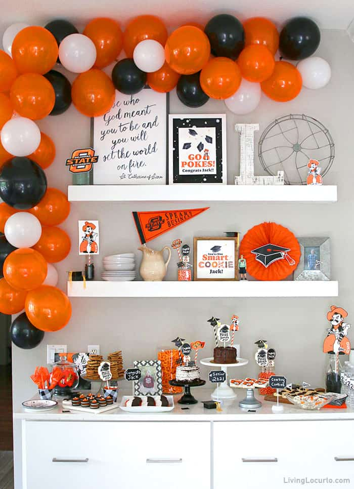 Graduation Party Ideas with dessert bar and DIY balloon arch