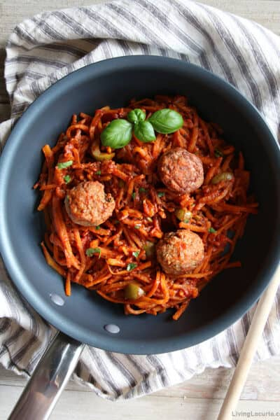 Butternut Squash Noodles with Tomato Sauce and Meatballs
