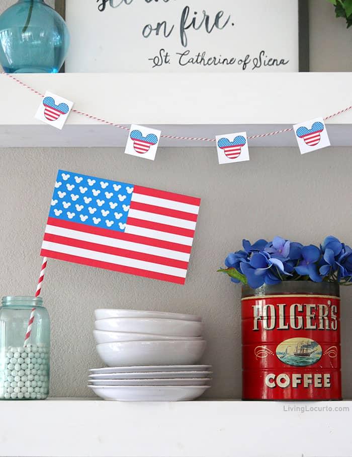Mickey Patriotic American Flag Printable